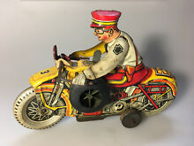 motorcycle 1938 marx tin toy wind up police