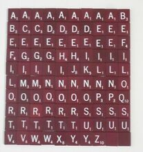 scrabble replacement tiles burgundy w white
