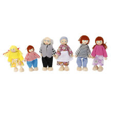 wooden puppet 6pcs wooden dolls people hand