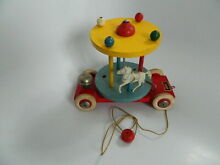 brio sweden wooden pull toy carousel