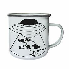 flying saucer ufo cow abduction black retro tin