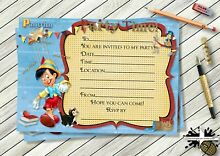 wooden puppet i have no strings party invitation