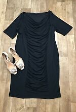 twiggy m s black ruched fitted knee length
