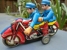 motorcycle tin plate toy pillion rider strong