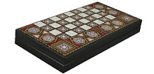 backgammon set wooden board game mother pearl