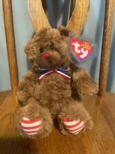 uncle sam ty beanie baby bear red nose mint