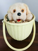 1950 wind up toy puppy in a basket japan