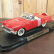 ford thunderbird 1957 red white convertible top 1 18