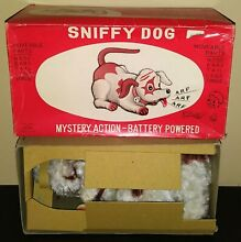 alps battery operated sniffy dog tin toy