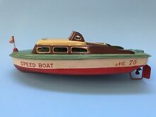 tin toy race boat made japan by tkk