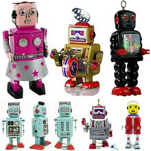 space retro robot toy tin wind up for