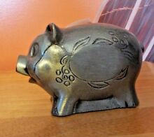 banthrico pewter pig piggy bank dated 1974