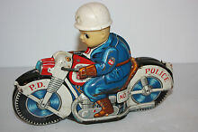 tin motorcycle toy police cycle no
