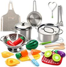 kitchen pretend play toys stainless steel