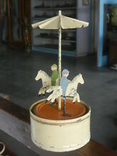 carousel rare early wind up fine handpainted