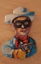lithograph tin embossed pin cowboy