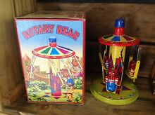 merry go round wind up tin toy bear boxed modern