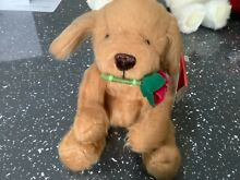 russ berrie collectable brown dog rose in mouth