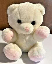 russ berrie 7 white rattle bear pink paws 259