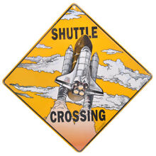 road sign new space shuttle rocket launch