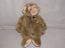 russ berrie jimby plush monkey 8in tipped brown