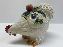 fitz floyd french orchard chicken hen lidded