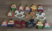 rocking horse clown wooden decorations christmas