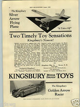 kingsbury 1929 paper ad motor driven toys