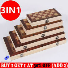 backgammon 3 in 1 large folding wooden chess