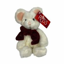 russ berrie mouse tic toc plush white red bow