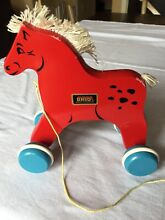 brio wooden red horse pull toy 1970 s