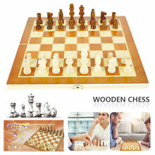 wooden chess set board box pieces wood