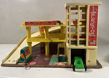 little people fisher price garage inc 3 cars