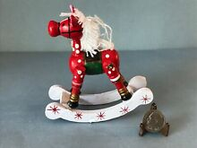 rocking horse russ berrie red white wood painted