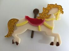 rocking horse lucite brooch mb5