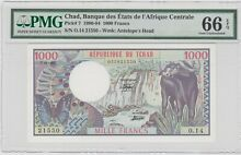 chad valley chad p 7 1000 francs 1980 pmg 66