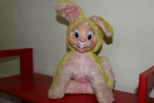 rushton dolls rubber face pink yellow bunny