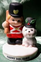 russ berrie co holiday figurine soldier boy dog