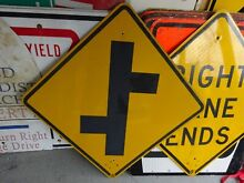 road sign double intersection yellow road