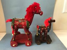 rocking horse 2 russ berrie pull toy horse red