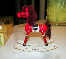 rocking horse russ berrie co red wooden christmas