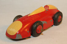 timpo 1950 s toy racing car yellow red