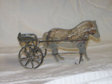 gibbs wood tin horse carriage pull toy