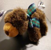 russ berrie grizzby plaid bow grizzly bear cub