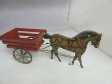 gibbs wooden 1910 horse cart old toy