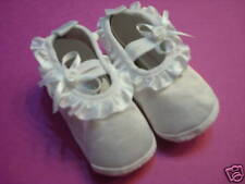 Baby Girl Baptism or Special Occasion White Satin Shoes