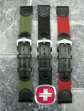New 19mm WENGER SWISS ARMY Black Leather Strap Green Red and Black Nylon Band 19
