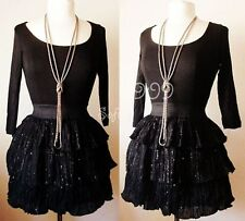 NEW Forever 21 Knit Top Waistband Ruffle Sequins Dress