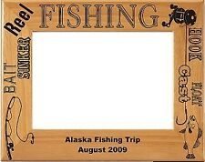 Personalized laser Engraved Wood Fishing Picture Frame