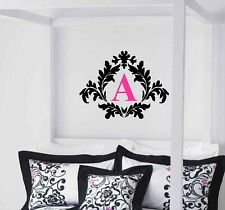 Damask with Monogram Wall Decal Decor Lettering Custom